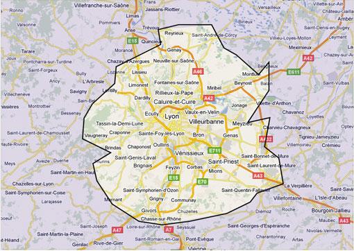 Zones d'intervention Maintenance Climatisation Lyon www.Clim.A.Lyon.fr